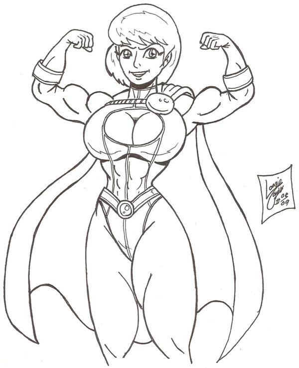 Flexing Power-Girl by Lonzo1