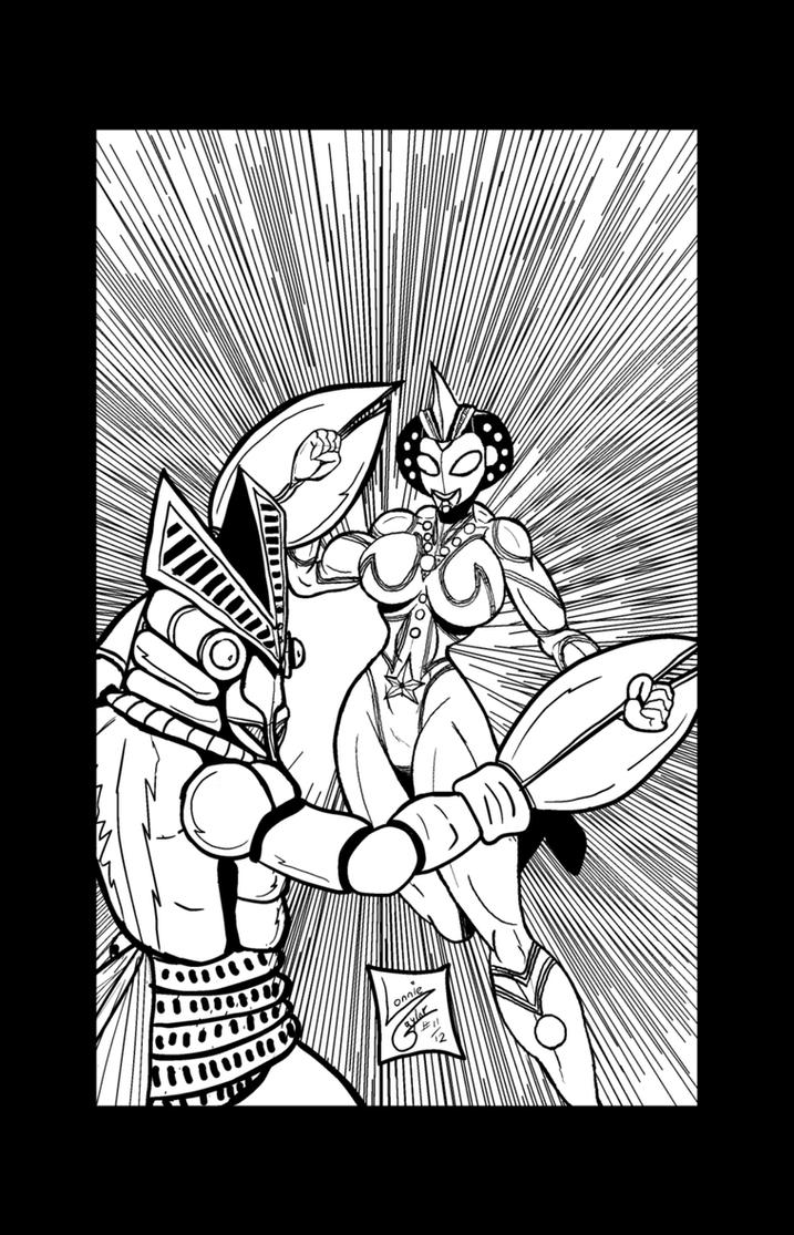 Fight On Ultrafemme Part 1 Lineart by Lonzo1