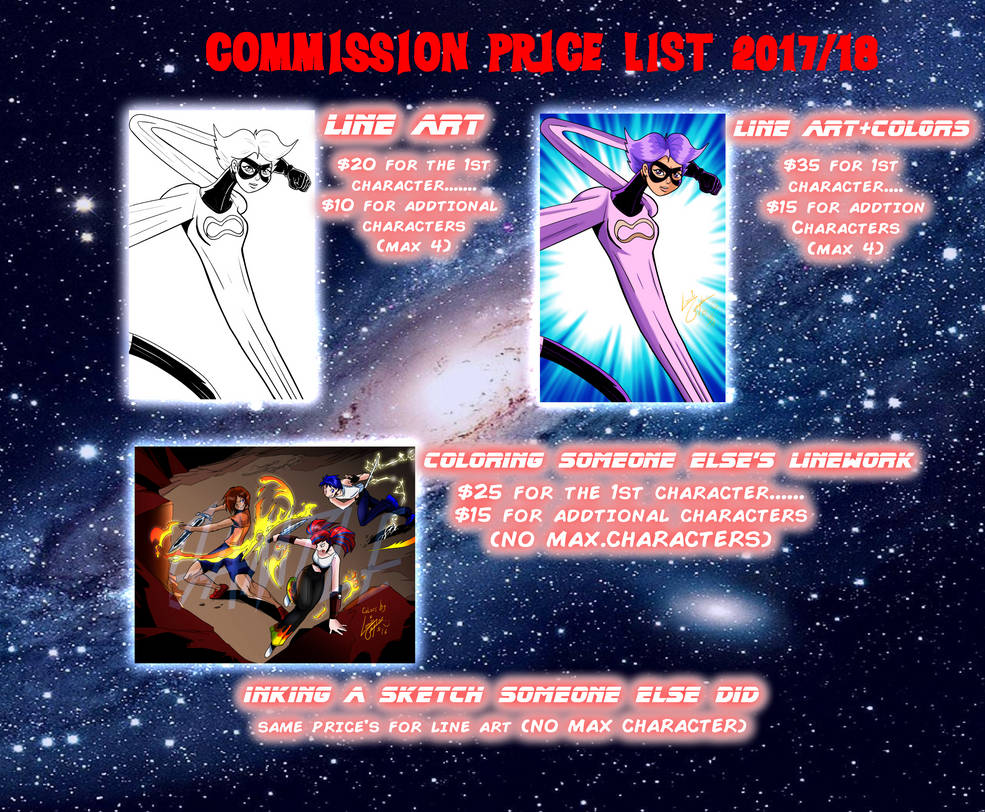 Commission Prices for 2017/18