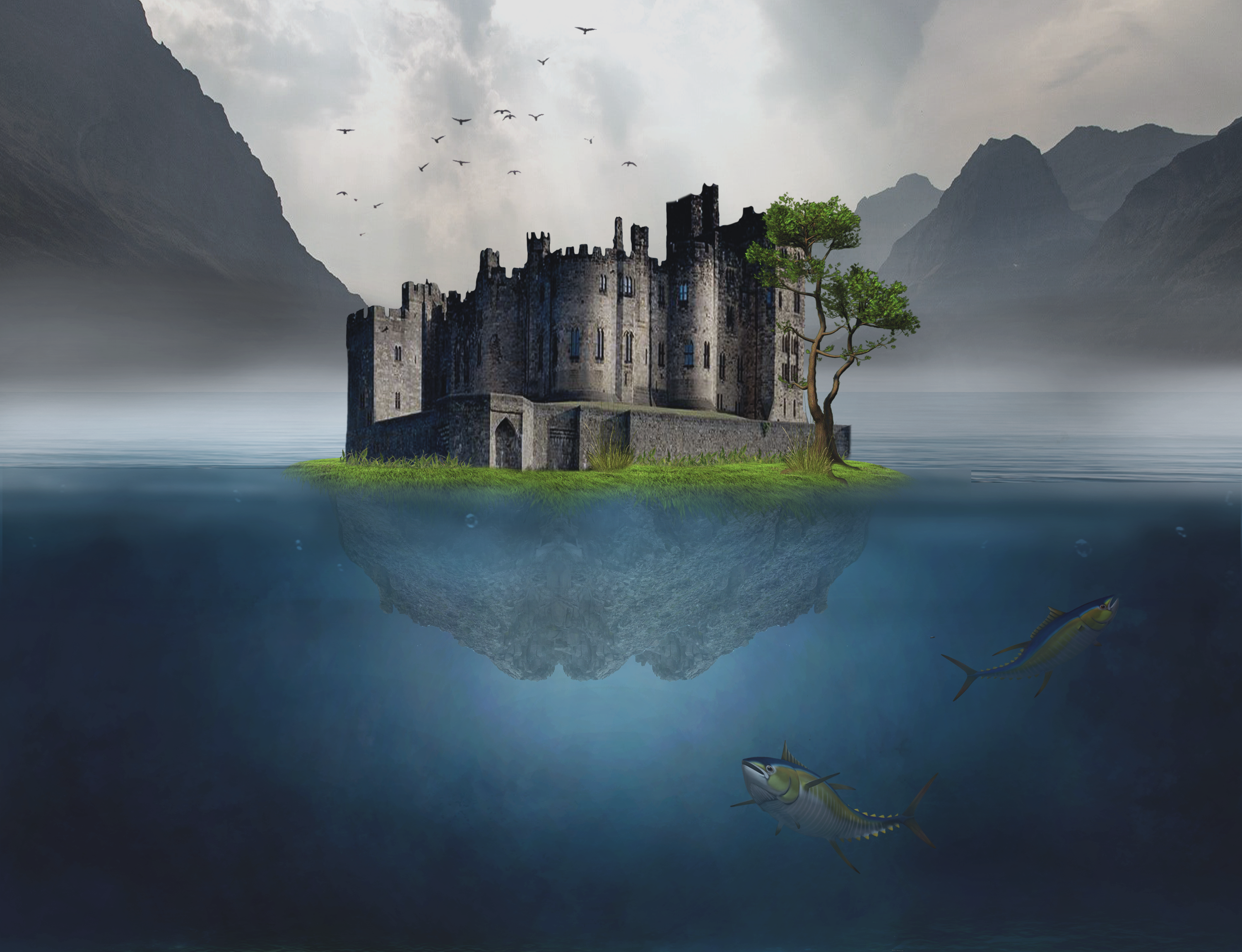 Island castle on the water