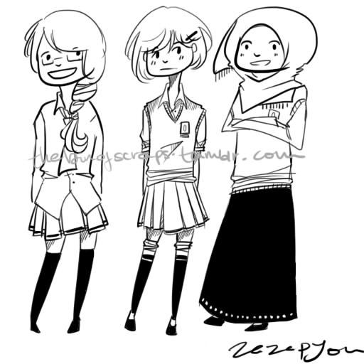 School Girls by Zazapyon