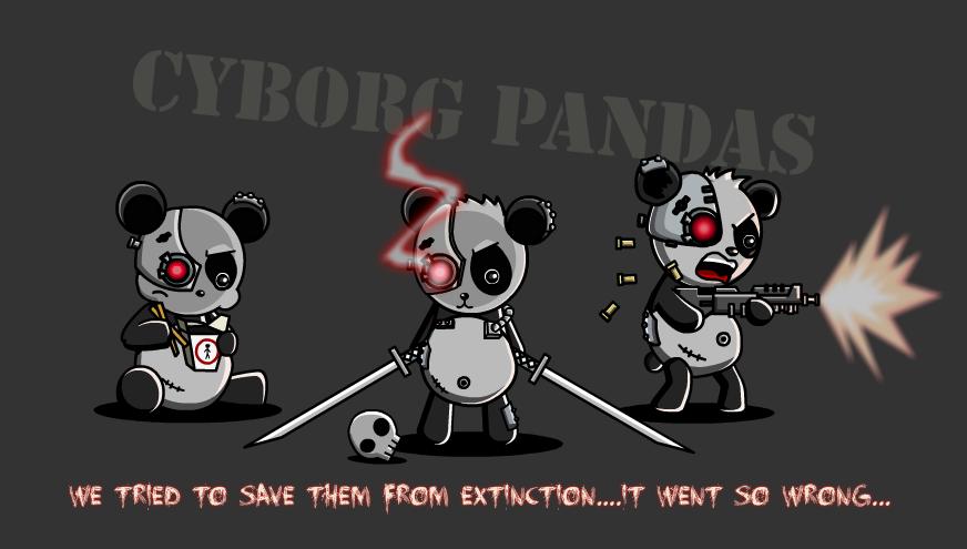 Cyborg Pandas by Z-studios