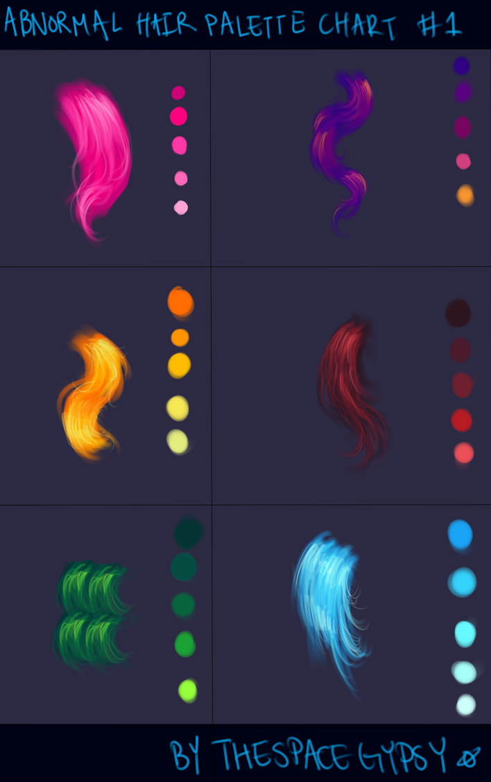 Abnormal Hair Color Palettes: Supplement Chart #1 by StarshipSorceress