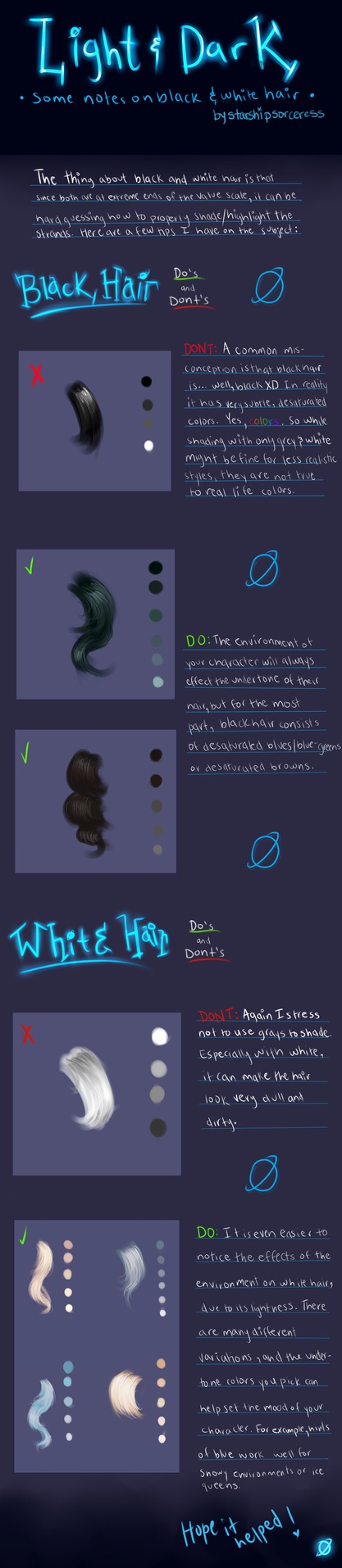 Light and Dark: A Tutorial on Black and White Hair by StarshipSorceress