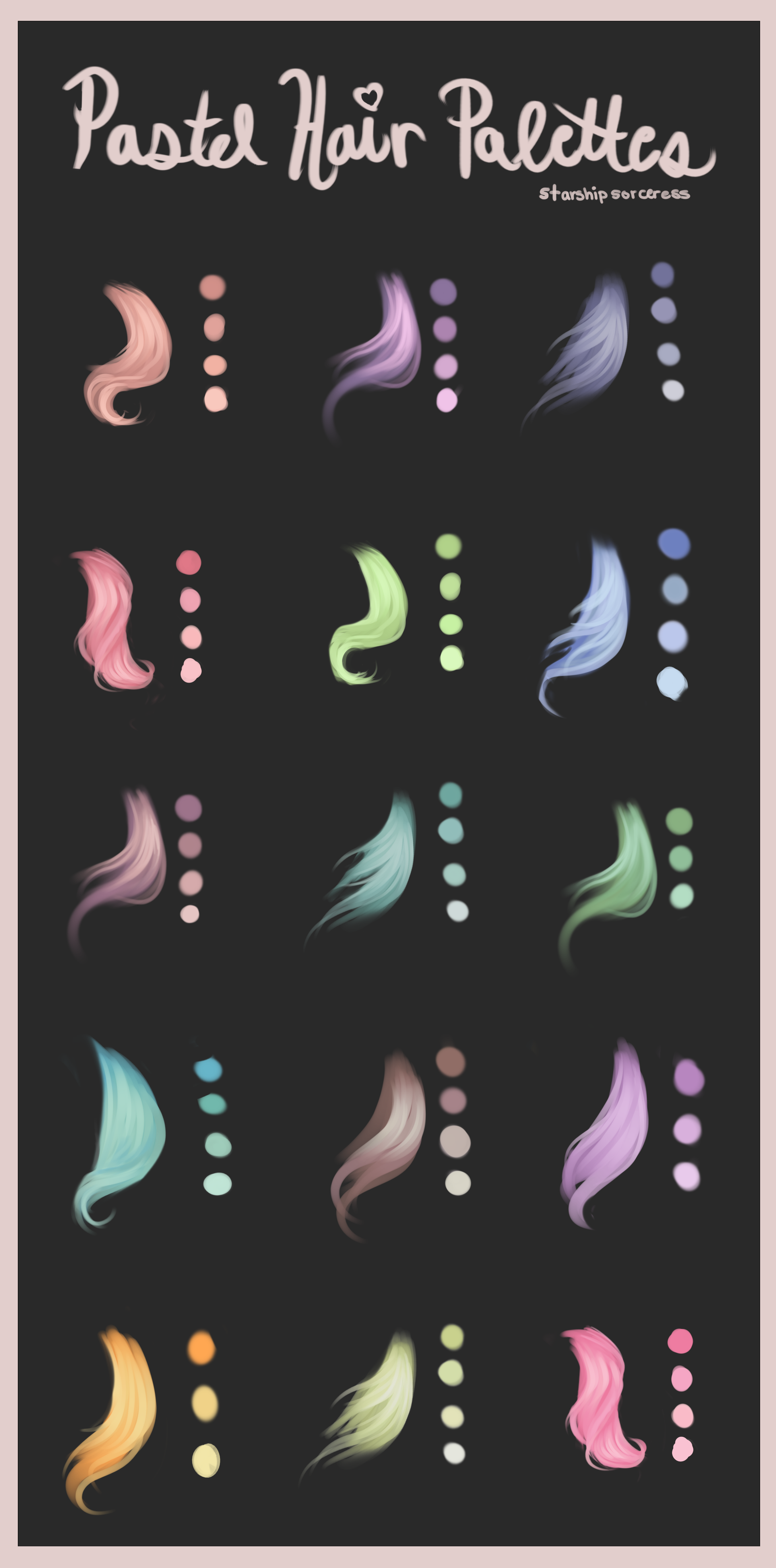 Pastel Hair Palettes by StarshipSorceress on DeviantArt
