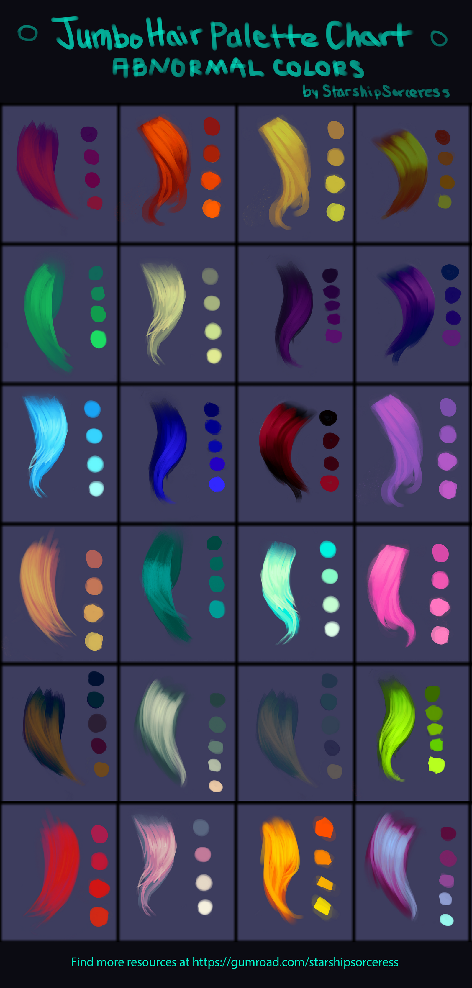 Jumbo Abnormal Hair Palettes Chart By Starshipsorceress On