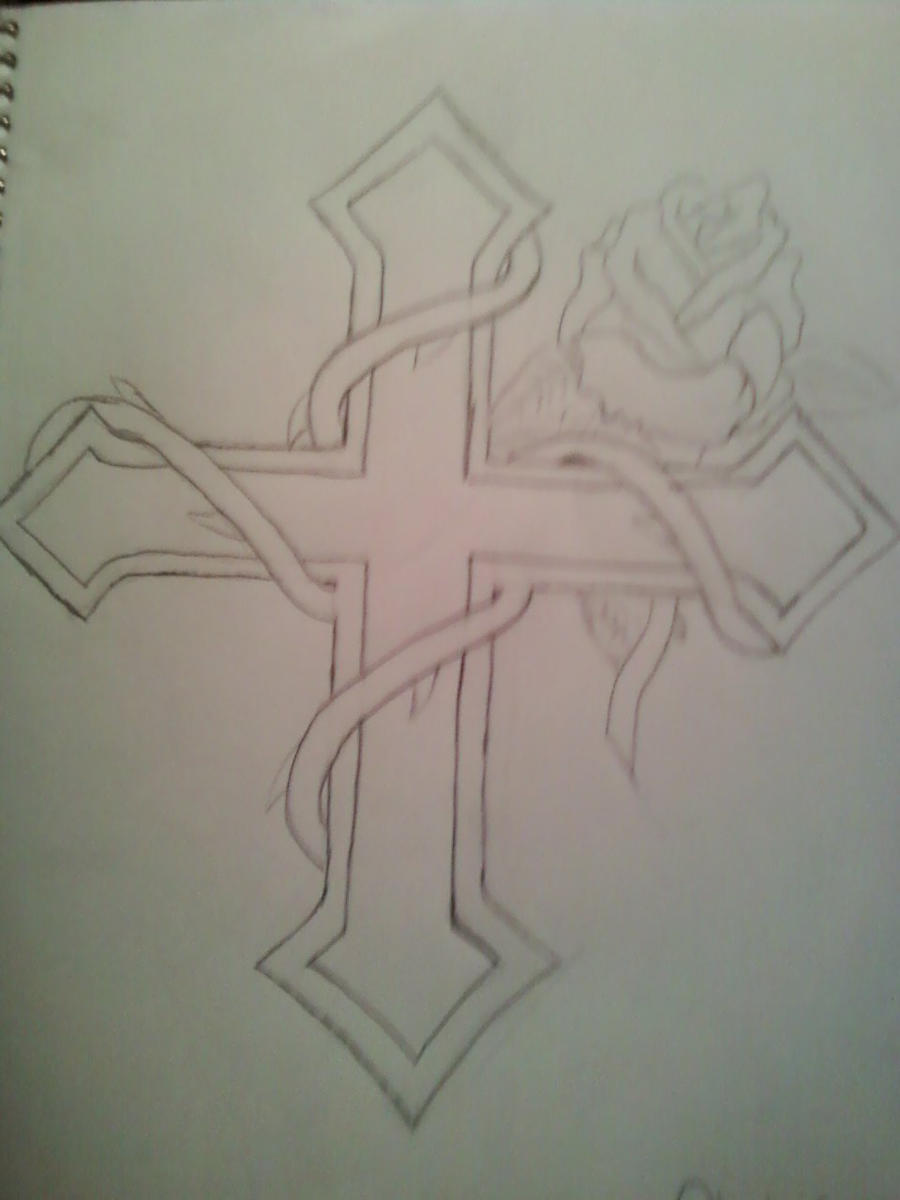 cross/vines with rose by Planetdrawer8 on DeviantArt