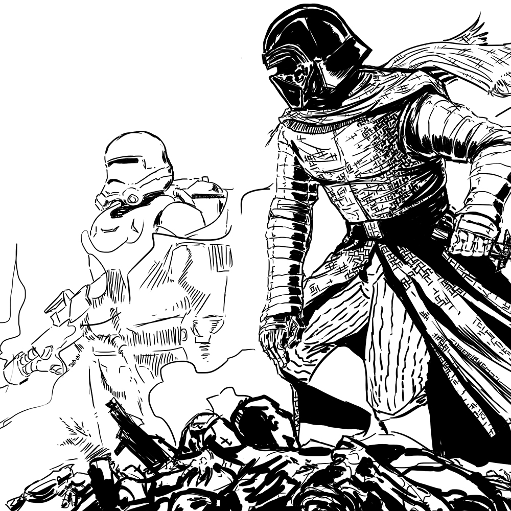 Click to see printable version of Kylo Ren Coloring page | 1000x1000