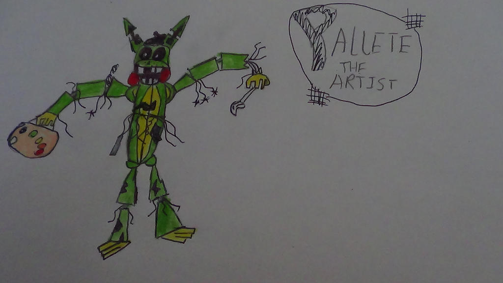 Palette the artist fnaf fan made character by silverweedlealbey