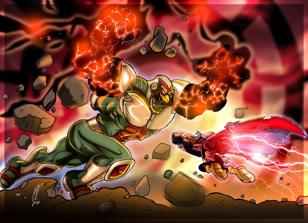 Pikappa (Duck Avenger) vs Moldrock by Paritos