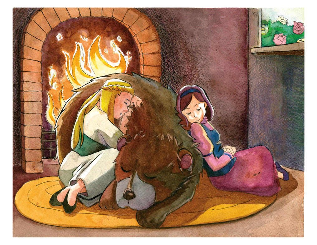 Rose Red, Snow White, and Bear by ave-nu