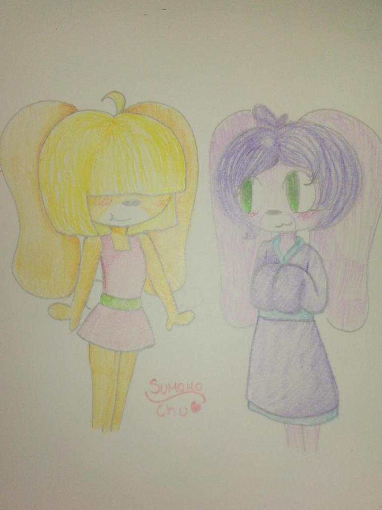 Traditionally drawing Momo and Sumomo by SumomoChu