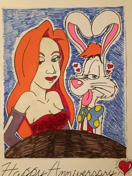 Roger Rabbit and Jessica Rabbit (commission)