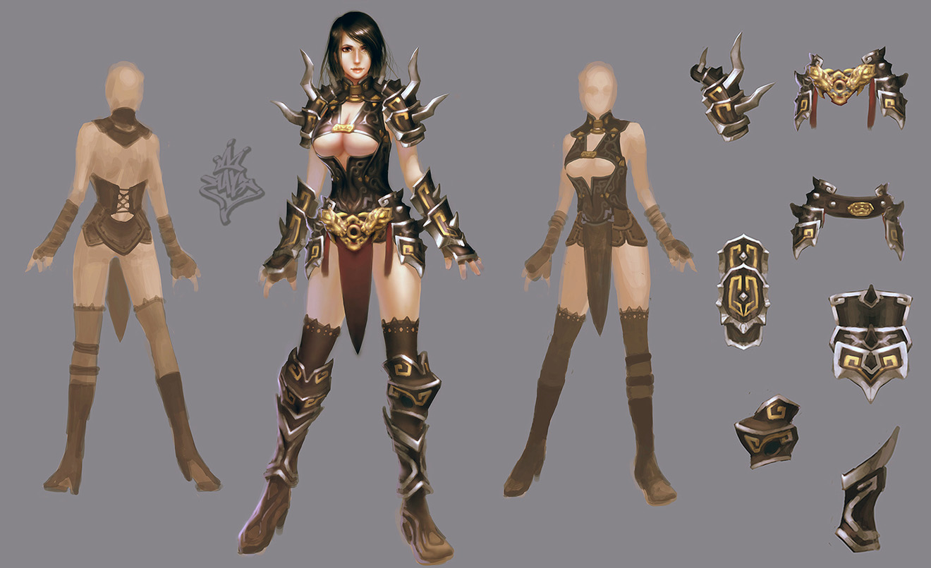 Nude lineage 2 characters in armors sex beauties