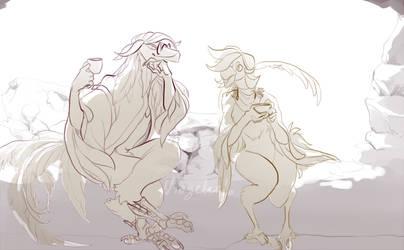 Fullbody sketch commission- oukamiyoukai45 by NinGeko