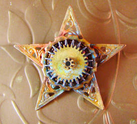 Steampunk Sheriff's Star Pin