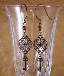 Brass Filigree and Key Steampunk Earrings