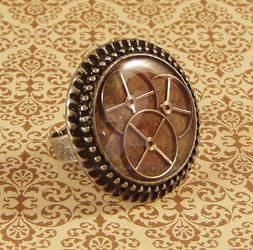 Antiqued Silver Steampunk Triple Watch Gear Ring