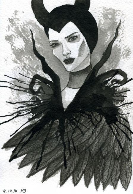 Inktober Maleficent by NoctiLuna