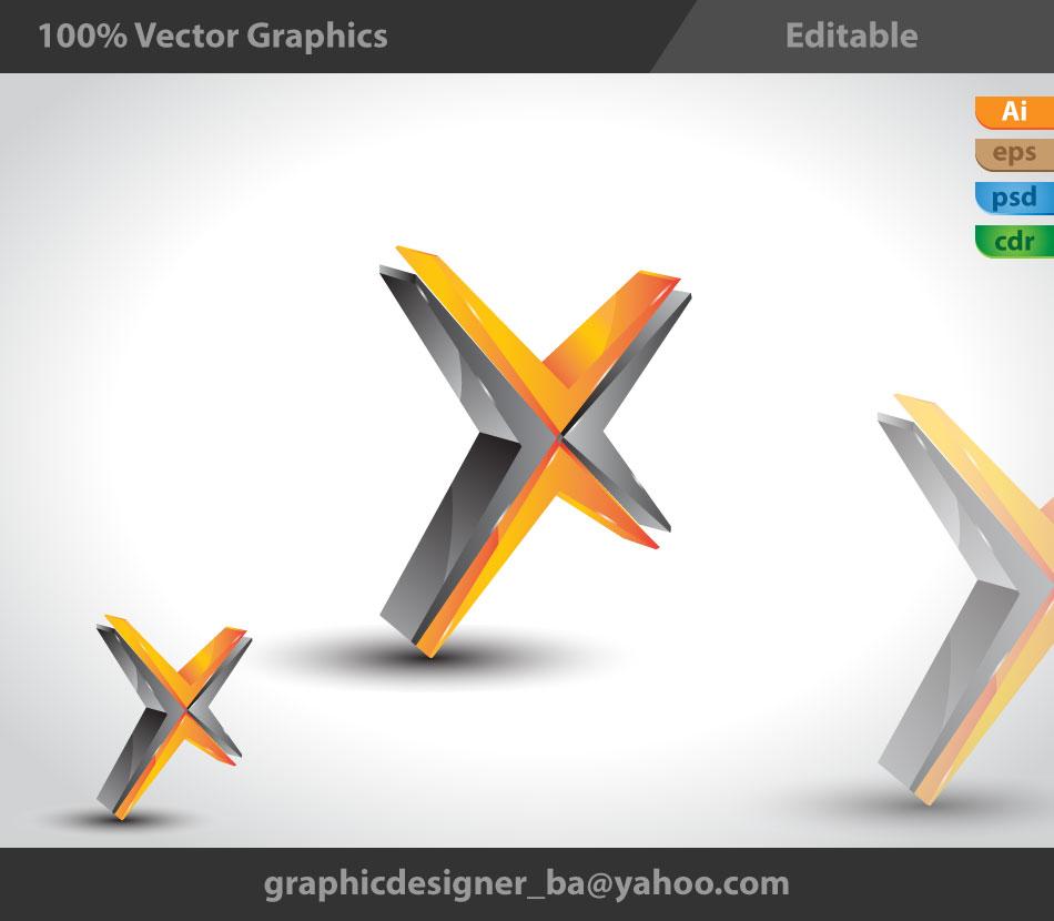 3D Logo 3d styl   X Logo