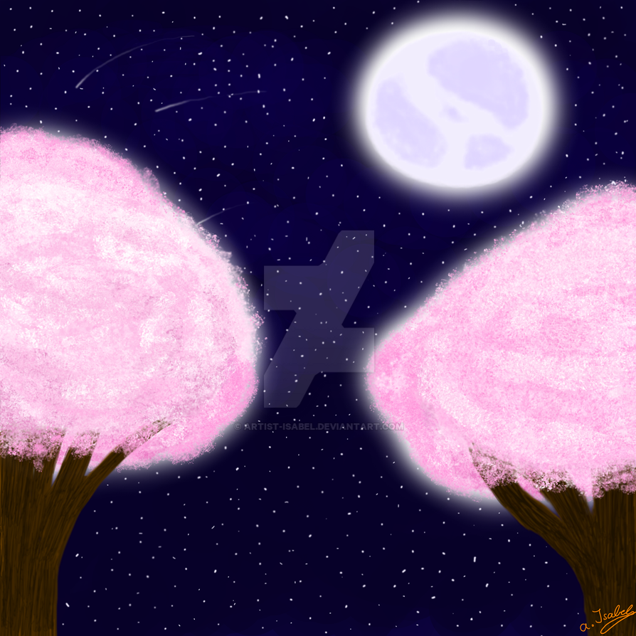 Cherryblossoms under the moon by artist-Isabel