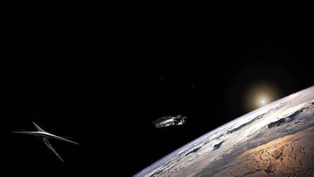 Battlestar Galactica and Basestar by Mainer82