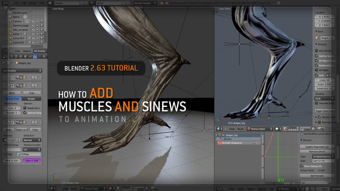 BLENDER ANIMATION TUTORIAL  MUSCLES AND SINEWS by Vitaly
