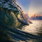 Ocean breaking surfing wave closing