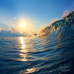 Sunset with ocean wave