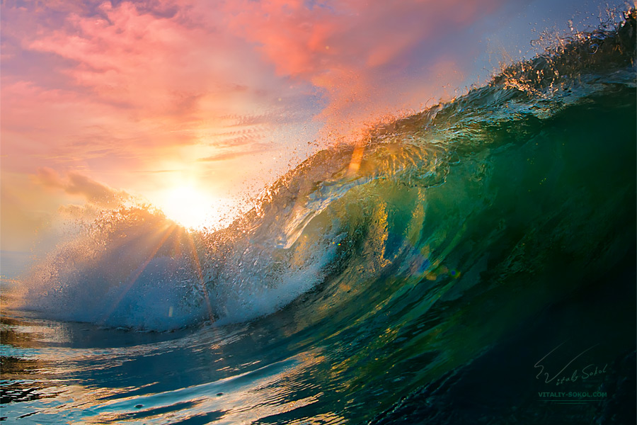 Sunset Ocean Wave by Vitaly-Sokol