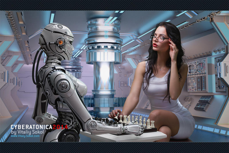 Robot Playing Chess With Woman by Vitaly-Sokol