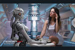 Robot Playing Chess With Woman