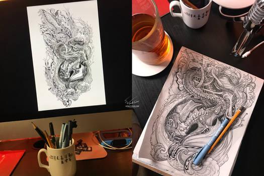 Dragon. Lieart. Ink, pencil.