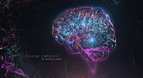 Blender.EEVEE. Cyber Brain. Neural Network concept