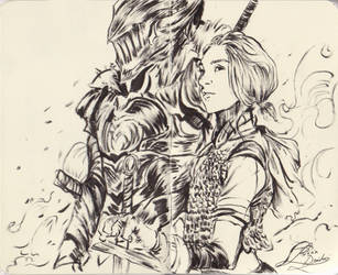 Girl and her Black Knight by RinRinDaishi