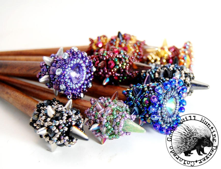 Club Mace Hair Sticks by GoodQuillHunting