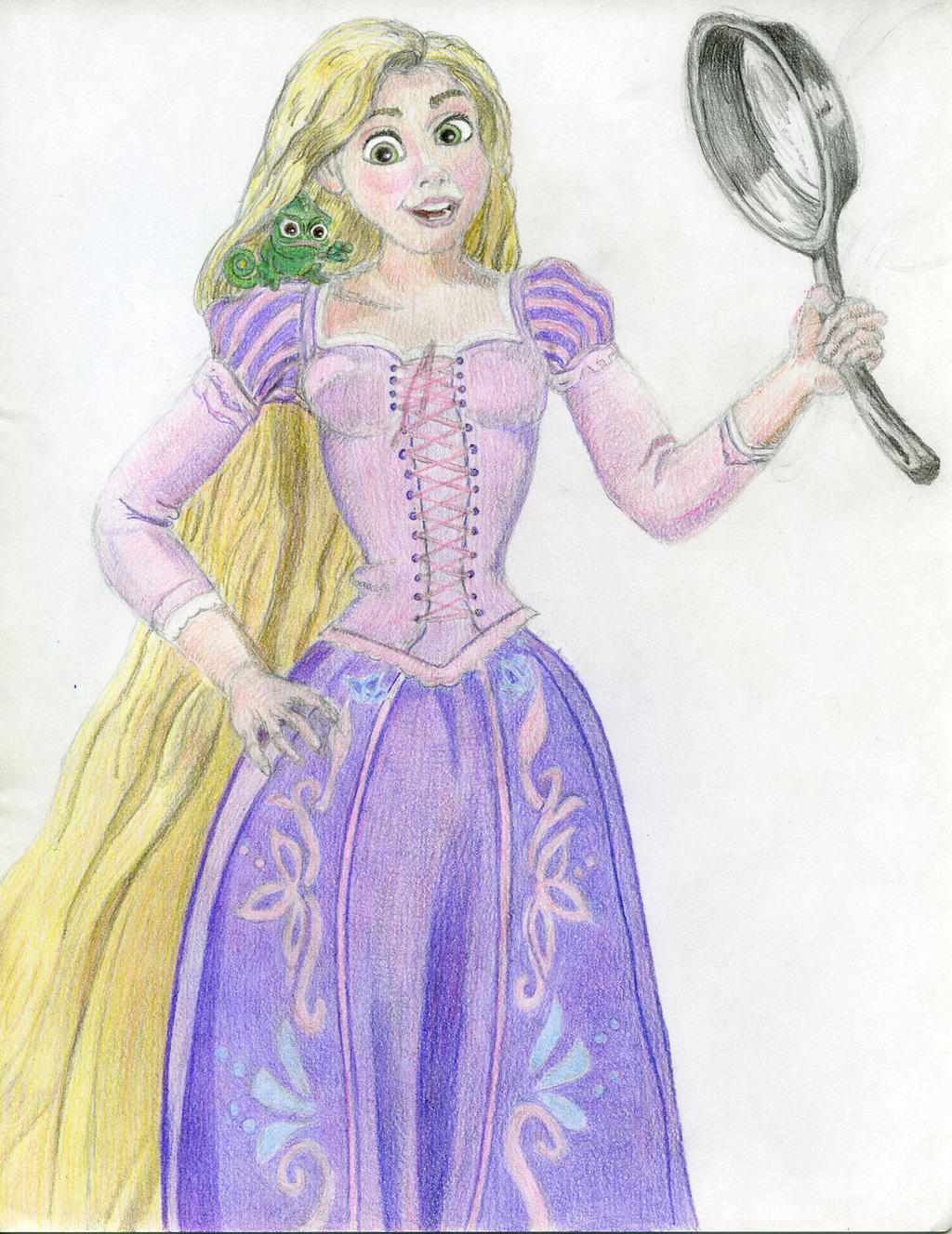 Tangled Drawing Of Rapunzel And Chameleon Pascal 7 By Ent2pri9se On Deviantart