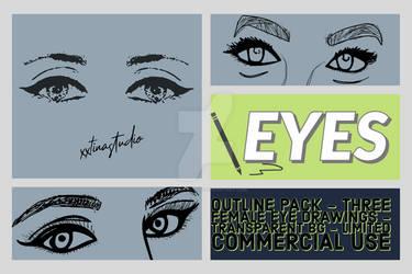 Female Eyes - Outline/Vector Pack