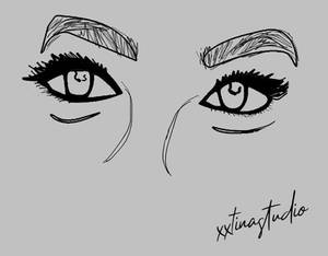 Female Eyes - Outline/Vector Drawing