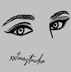 Female eyes w/ perspective outline/vector drawing