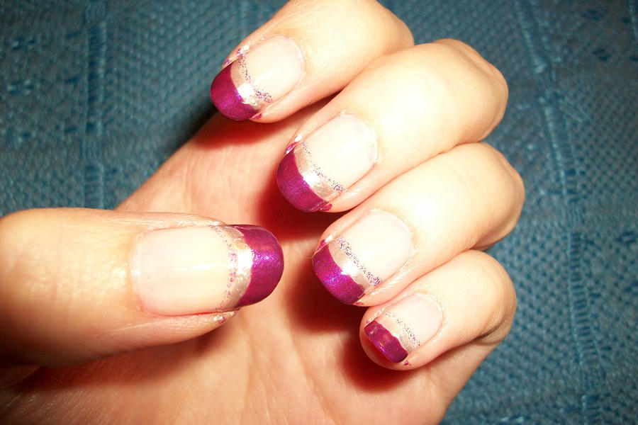 purple french manicure nail art by butterfly1980