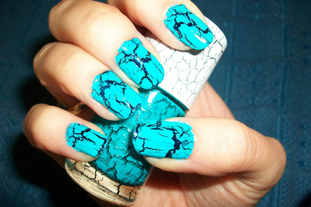 Crackle Nail Art In Deep Blue And Teal By Butterfly1980 On Deviantart