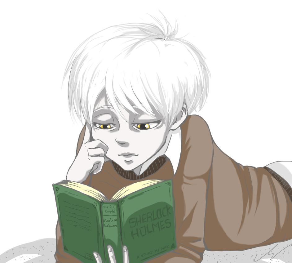 lil Shogo reading Sherlock Holmes by KanpekiNaSekai