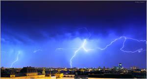 Lightning over the city, Zagreb Croatia by nrasic