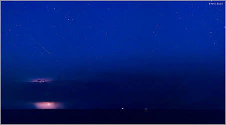 Perseid shower and lightning by nrasic