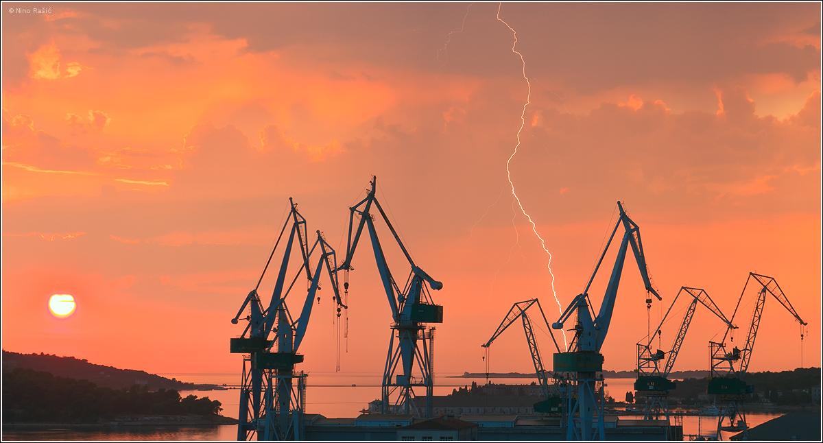 Sunset and lightning in Pula, Croatia by nrasic on DeviantArt