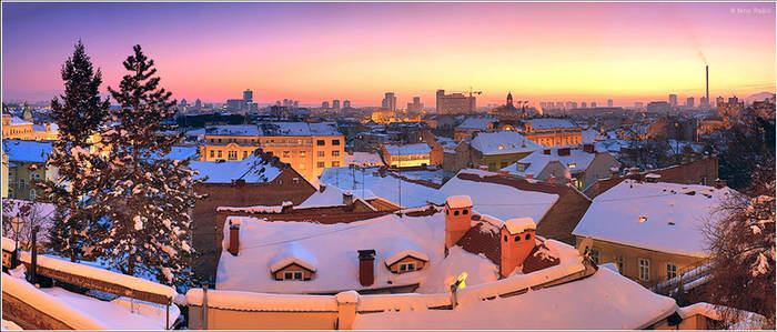 Sunset in Zagreb, Croatia