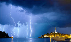 Lightning in Rovinj, Croatia
