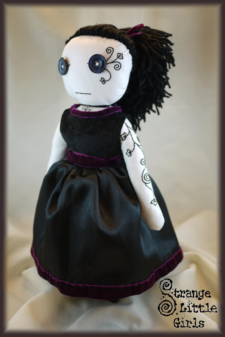 gothic rag doll with hand stitched tattoo by strange