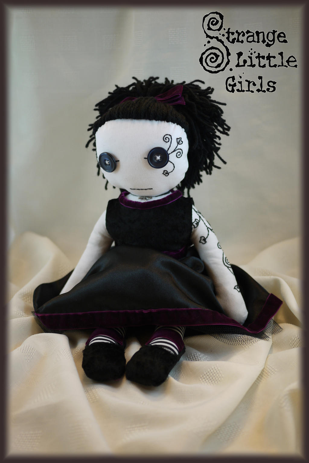 Gothic rag doll with hand stitched tattoo by Strange-Little-Girls